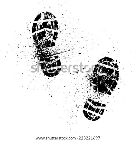 White background with ink splash and shoes prints. eps10 - stock vector