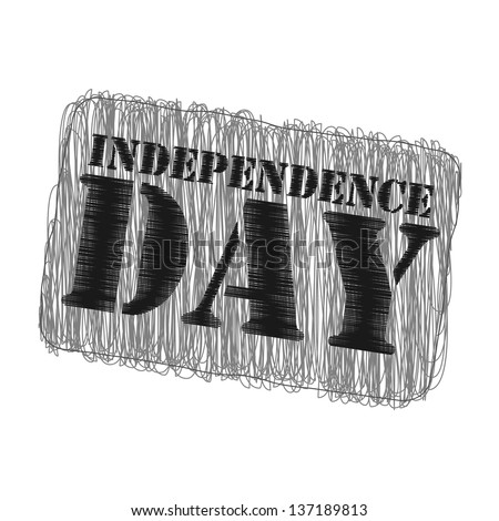 white background with isolated stamp for 4th July or 15th August Independence day - stock vector