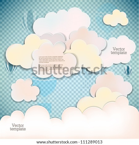 White banners and bubbles for speech - stock vector