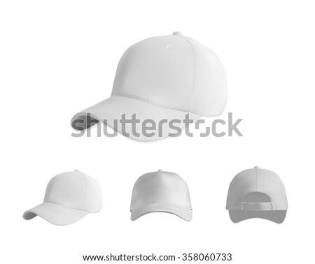 White baseball cap mockup set, vector eps10 illustration on white background - stock vector