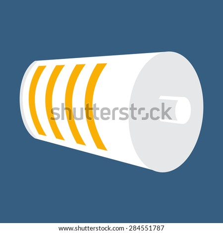 White Battery Icon. Half Charged Battery Status. Yellow Level Indicator. Vector Illustration - stock vector