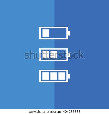 White battery icon vector illustration. Blue background - stock vector