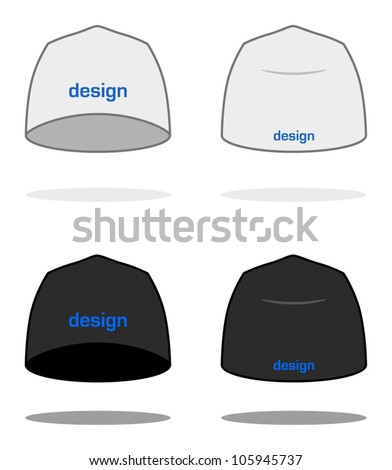White BEANIE design template (sample logos are easy to change to your own). VECTOR, painted with love to details. More clothing designs in my portfolio! - stock vector
