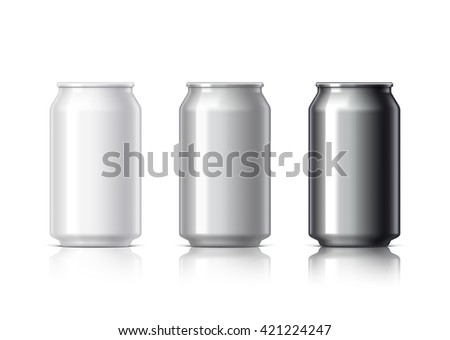 white black and gray aluminum cans for beer and soft drinks or energy. Packaging 330 ml. Object, shadow, and reflection on separate layers. Vector illustration - stock vector