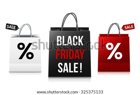 White, black and red Black Friday Sale shopping bags vector set - stock vector