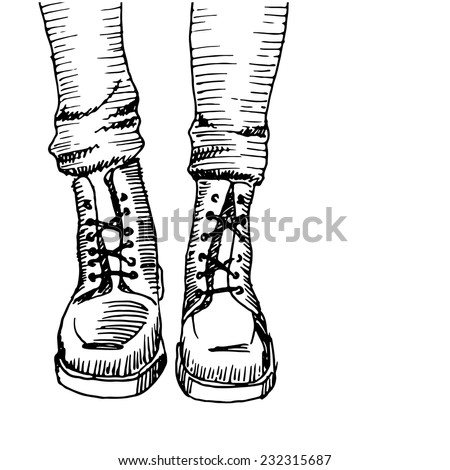 White / black army boots sketch, vector - stock vector
