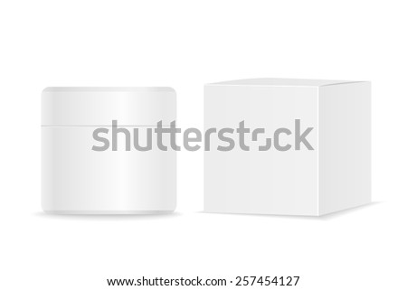 White blank cosmetic tube and paper packaging. Vector illustration - stock vector