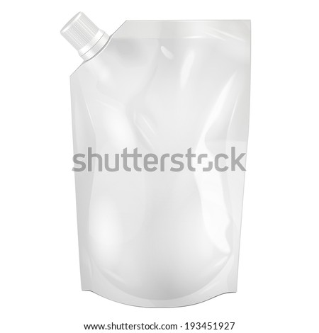 White Blank Doy-pack, Doypack Foil Food Or Drink Bag Packaging With Corner Spout Lid. Illustration Isolated On White Background. Mock Up, Mockup Template Ready For Your Design. Vector EPS10 - stock vector