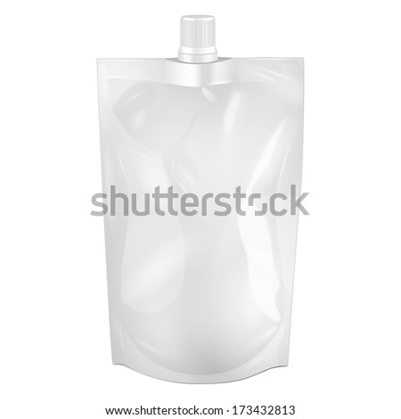 White Blank Doy-pack, Doypack Foil Food Or Drink Bag Packaging With Spout Lid. Illustration Isolated On White Background. Mock Up, Mockup Template Ready For Your Design. Vector EPS10 - stock vector