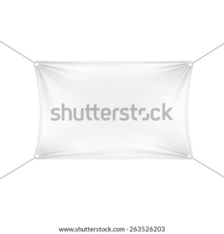 White Blank Empty Horizontal Rectangular Banner with Corners Ropes. Textile, Fabric or Nylon with Folds. Vector Illustration Isolated on Background. Ready Template for Your Logo, Text and Design - stock vector
