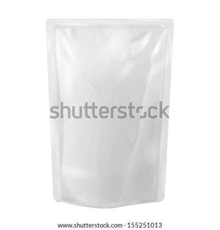 White Blank Foil Food Or Drink Bag Packaging. Illustration Isolated On White Background. Mock Up, Mockup Template Ready For Your Design. Vector EPS10 - stock vector