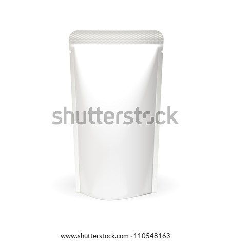 White Blank Foil Food Or Drink Bag Packaging. Plastic Pack Template Ready For Your Design. Vector EPS10 - stock vector