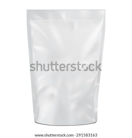 White Blank Foil Food Or Drink Doypack Bag Packaging. Illustration Isolated On White Background. Mock Up Template Ready For Your Design. Vector EPS10 - stock vector