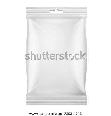 White Blank Foil Food Snack Sachet Bag Hang Slot Packaging For Coffee, Salt, Sugar, Spices, Sachet, Sweets, Chips, Cookies. Illustration Isolated. Mock Up Template Ready For Your Design. Vector EPS10 - stock vector