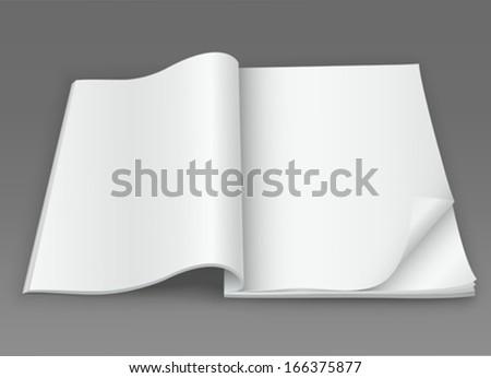 White blank open magazine on a dark background - stock vector