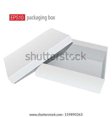 White blank Package Box Opened with the cover removed. For shoes, electronic device and other products. Vector illustration - stock vector