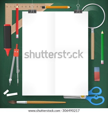white blank paper on blackboard with school supplies. vector illustration. isolated object. - stock vector