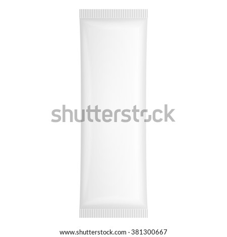 White Blank Plastic Pouch Pocket Bag. Transparent. Illustration Isolated On White Background. Mock Up Template Ready For Your Design. Vector EPS10 - stock vector