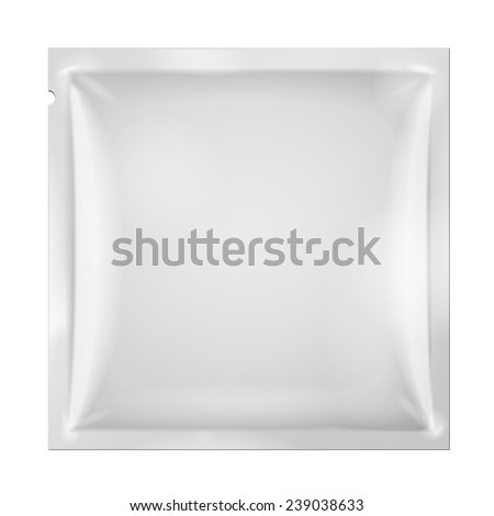 White Blank Retort Foil Packaging Medicine Drugs Or Coffee, Salt, Sugar, Pepper, Spices, Snack, Sachet, Sweets, Candy Or Condom. Plastic Pack. Mock Up Template Ready For Your Design. Vector EPS10 - stock vector
