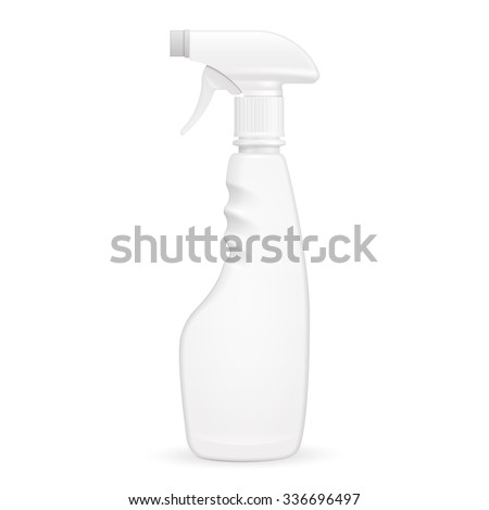 White Blank Spray Pistol Cleaner Plastic Bottle. Illustration Isolated On White Background. Mock Up Template Ready For Your Design. Vector EPS10 - stock vector