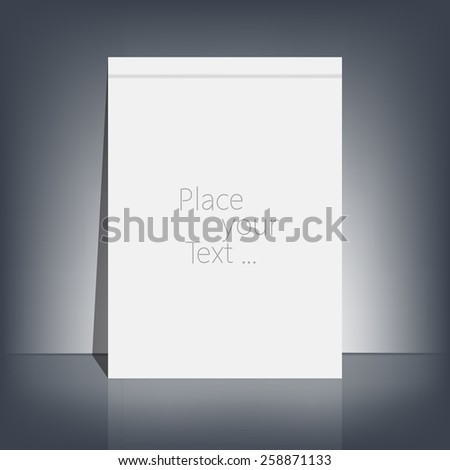 White blank stationary near the black wall with shadow. Magazine, book, flyer, booklet, cover or report in A4 size for your design and your text . Vector Illustration  - stock vector