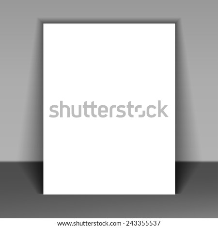 White blank stationary near the wall with shadow. Magazine, book, brochure, flyer, folder, leaflet, booklet - stock vector