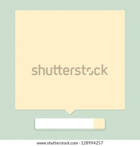 White blank web button with beige empty balloon tip shape on green background with leather texture pattern. Simple minimal, flat, solid, plain style. Vector illustration internet design element 10 eps - stock vector