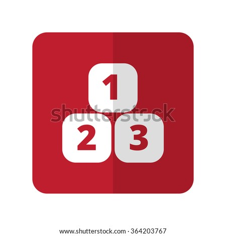 White 123 Blocks flat icon on red rounded square on white - stock vector