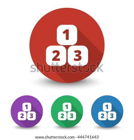 White 123 Blocks icon in different colors set - stock vector