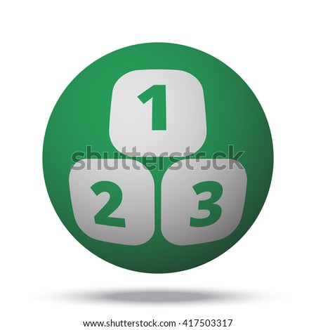 White 123 Blocks web icon on green ball - stock vector