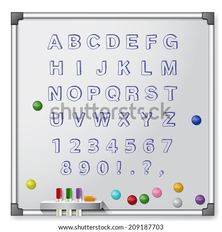 White board with colored markers and handrawn alphabet. Vector illustration - stock vector