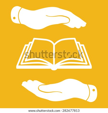 white book icon in flat hands isolated on yellow background- vector illustration - stock vector