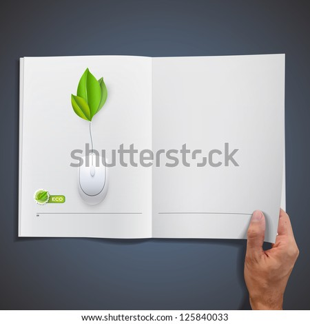 White book with mouse. Vector design. - stock vector