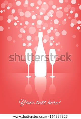 White Bottle and two glasses of champagne with transparent bubbles on pink background. Vector version. - stock vector
