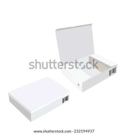 White box, cardboard box, software box, carton box, opened box, closed box - stock vector