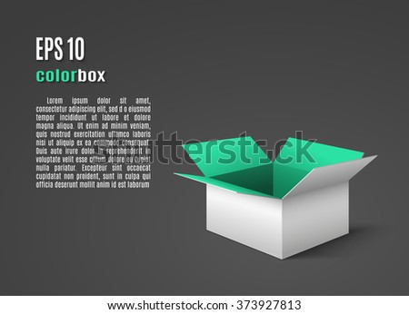 White box with green interior - stock vector