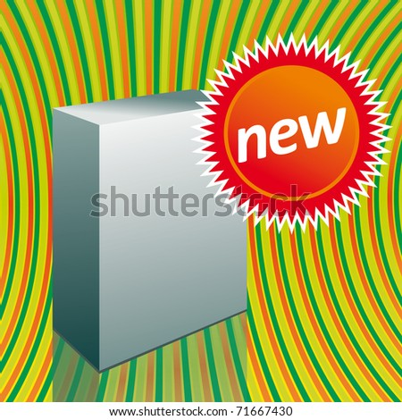 White box with sticker - stock vector