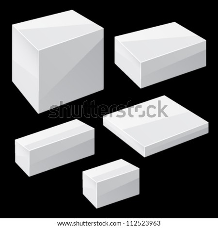 White boxes isolated on white. Vector - stock vector