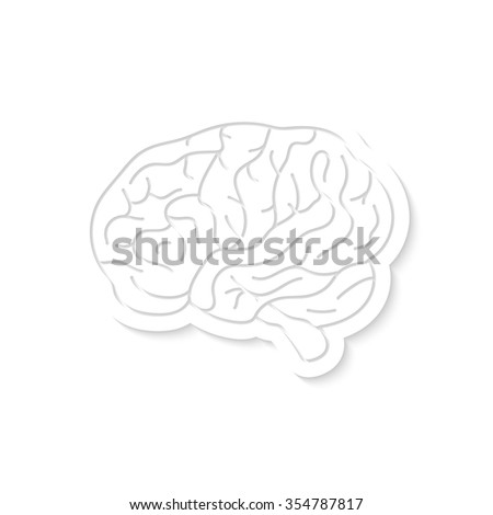 white brain icon with shadow. concept of brainy, test, exam, discovery, clever, educational material, wisdom. isolated on white background. flat style trend modern logo design vector illustration - stock vector