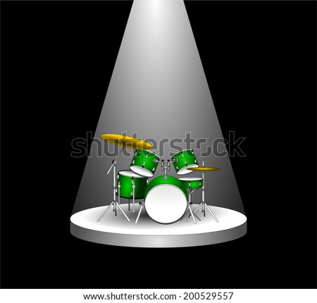 White bright reflector shining on an stage with drums in the darkness. beam of light on the podium in the dark. vector art image illustration, 3d drawing design, isolated on black background, eps10  - stock vector