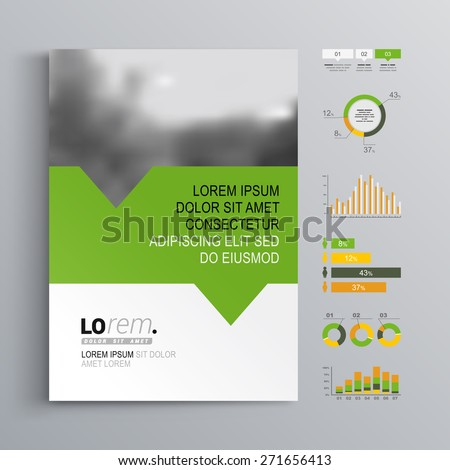 White brochure template design with green, orange and yellow shapes. Cover layout and infographics - stock vector