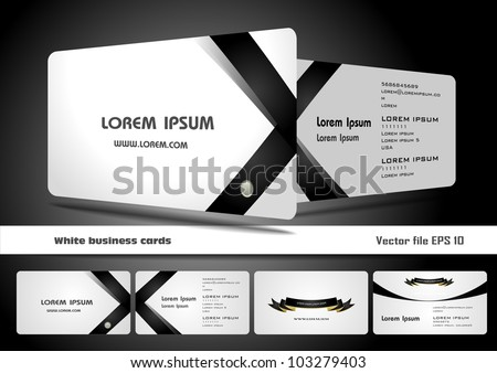 White business cards - stock vector