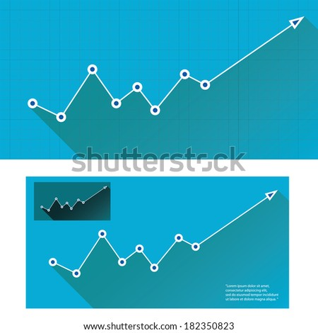 white Business graph and chart on blue background. vector illustration - stock vector