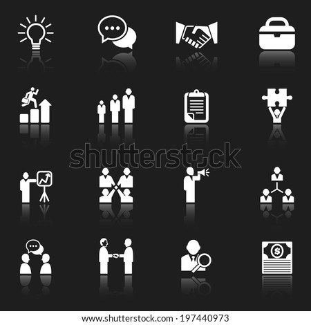 White business icons icons with reflections isolated on a dark gray