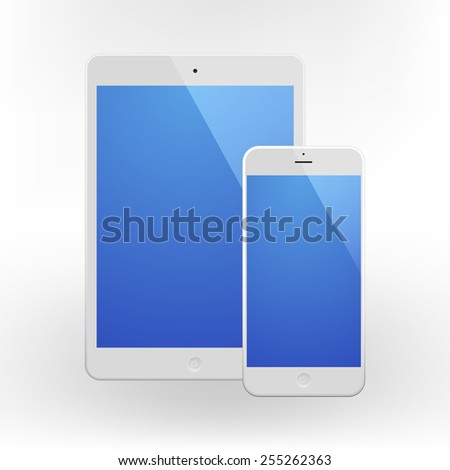 White Business Phone and White tablet with blue screen. Illustration Similar To iPhone iPad. - stock vector