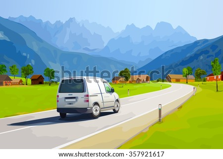 White car traveling on Alps mountains road at summer - stock vector