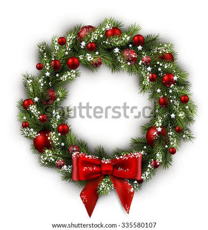 White card with Christmas wreath and bow. Vector illustration. - stock vector