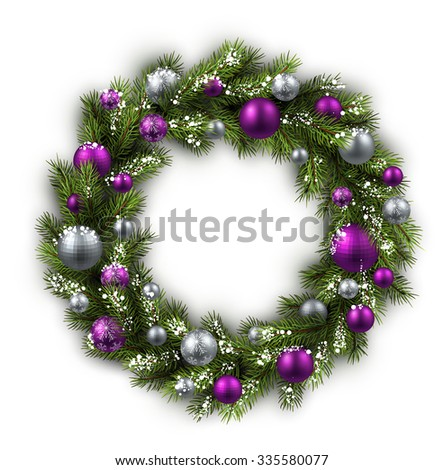 White card with Christmas wreath. Vector paper illustration. - stock vector