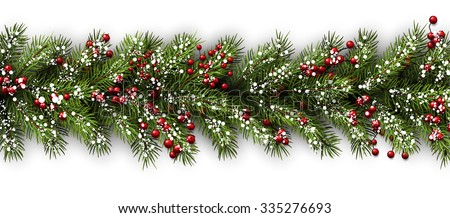 White card with fir branches. Vector paper illustration. - stock vector