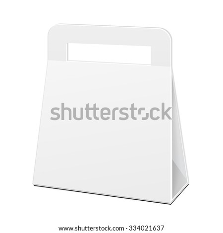 White Cardboard Carry Box Bag Packaging With Handles For Food, Gift Or Other Products. Illustration Isolated. Mock Up Template Ready For Your Design. Vector EPS10 - stock vector